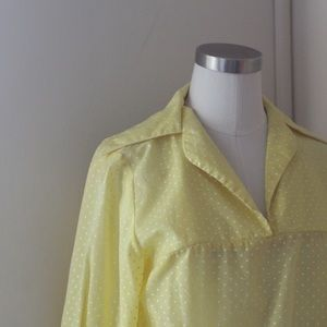 Vintage 70s Polka Dot Collared Blouse